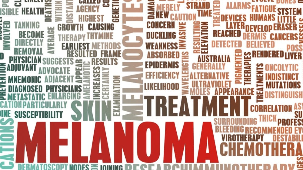 Types of cancer word jumble image. Words appear such as melanoma, cancers, metastatic, moles, ect.